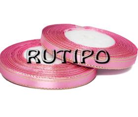 Лента атласная розовая с люрексом под золото,  6мм*1м