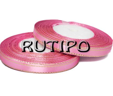 Стрічка атласна рожева з люрексом під золото, 6мм * 1м