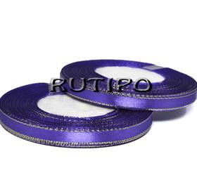 Лента атласная фиолетовая с люрексом под золото, 6мм*1м