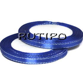 Лента атласная синяя с люрексом под серебро, 6мм*1м