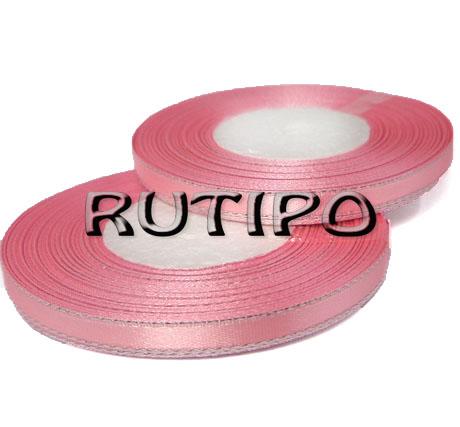Лента атласная розовая с люрексом под серебро, 6мм*1м