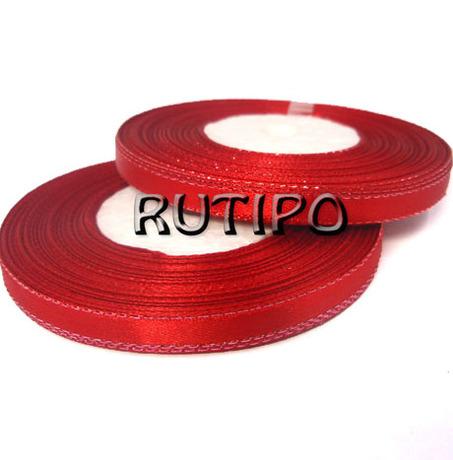Стрічка атласна червона з червоним люрексом, 6мм * 1м