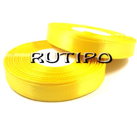 8011 Стрічка атласна лимонно-жовта, 1см * 32.5м (бобіна)