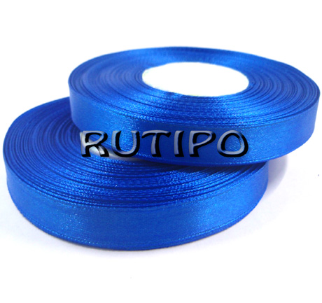 8107 Лента атласная синяя, 1см*32,5м (бобина)