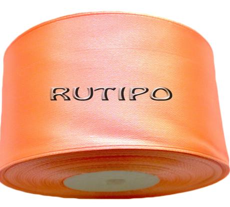 8025 Лента атласная оранжевый персик, 5см*32,5м (бобина)
