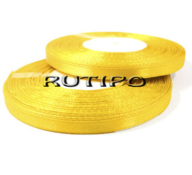 8012 Лента атласная золотисто-желтая, 6мм*32.8м