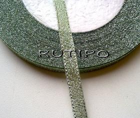 Стрічка парча світло-оливкова з люрексом під срібло, 7мм * 1м