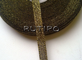 Стрічка парча чорна з люрексом під золото, 7мм * 1м
