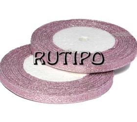 Стрічка парча попелясто-рожева з люрексом під срібло, 7мм * 1м