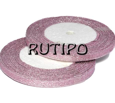 Лента парча пепельно-розовая с люрексом под серебро, 7мм*1м