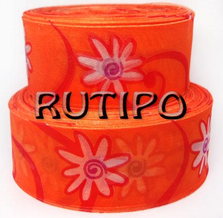 """Лента органза оранжевая """"Цветы"""" 37мм*1м"""