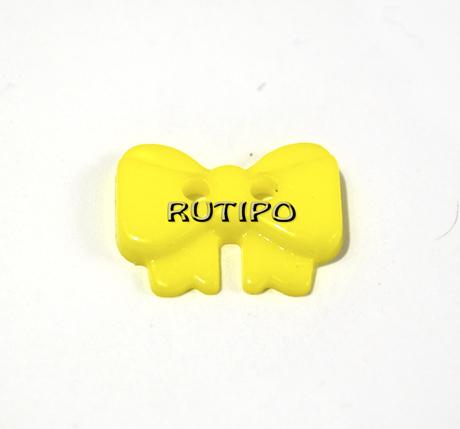 "Гудзик ""Бантик жовто-лимонний"", 14 * 10 * 2 мм, 1шт"