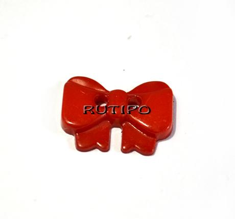 """Гудзик """"Бантик червоний"""", 14 * 10 * 2 мм, 1шт"""