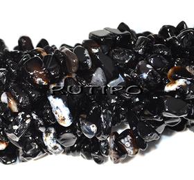 Бусины Агат черный галтовка 5-12мм, низка 40см