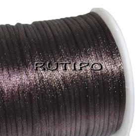 Атласный нейлоновый шнур темно-коричневый, 2.5мм*1м