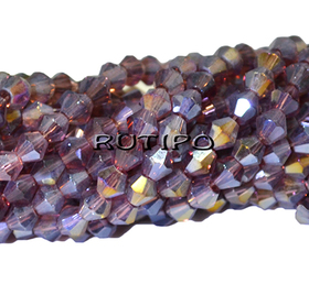 Crystal bicone Plum AB Plated, 4 * 4mm, pcs