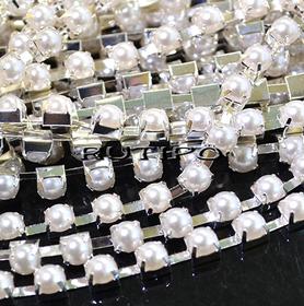 Цепь под серебро с полужемчугом SS28 Ivory, 10см