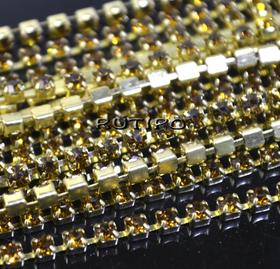 Цепь под золото со стразами SS6 Topaz, 10см