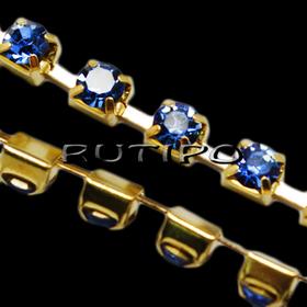 Цепь под золото со стразами SS6 LightSapphire, 10см