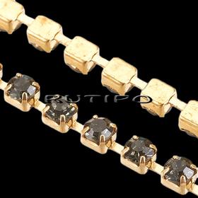 Цепь под золото со стразами SS6 BlackDiamond, 10см