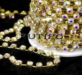 Цепь под золото со стразами SS8 Crystal AB, 10см