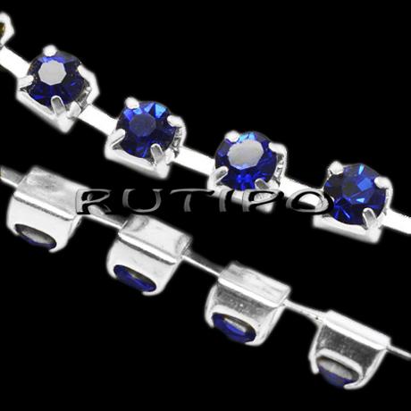 Цепь под серебро со стразами SS8 Sapphire, 10см
