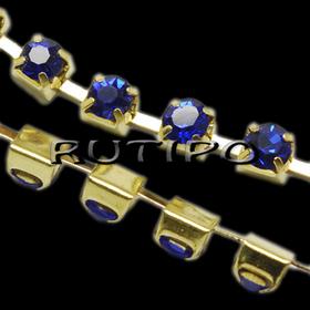 Цепь под золото со стразами SS8 Sapphire, 10см