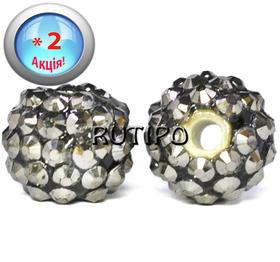 Shambhala bead graphite, 14 * 12mm, 5pcs (+ 5pcs as a gift)