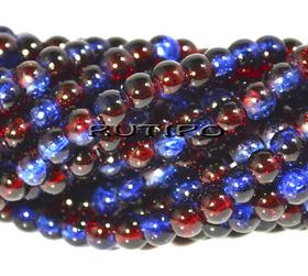Намистини Cracкle синьо-червоні, 4мм, 100шт
