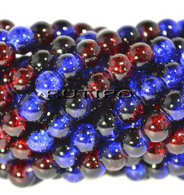 Намистини Crackle синьо-червоні 6мм, 100шт