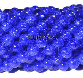 Бусина Crackle Blue 8мм, шт