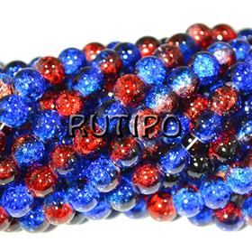 Намистини Crackle синьо-червоні 8мм, 500шт