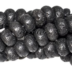 Lava bead (basalt), 12 * 8mm, pcs