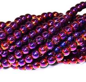 Бусины Purple Plated, 4мм, низка 70см (ок 200шт)