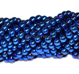 Бусины Blue Plated, 4мм, низка 70см (ок 200шт)