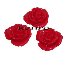 Кабошон Роза красная ,15мм, шт