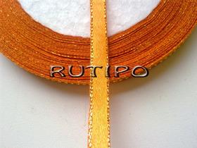 Лента атласная оранжевая с люрексом под золото, 6мм*1м