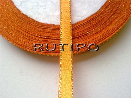 Стрічка атласна помаранчева з люрексом під золото, 6мм * 1м