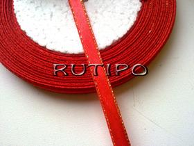 Лента атласная красная с люрексом под золото, 6мм*1м