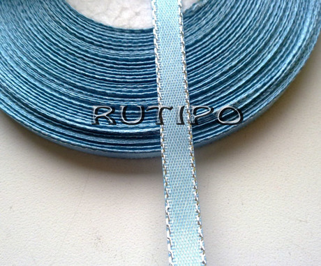 Стрічка атласна сіро-блакитна з люрексом під срібло, 6мм * 1м