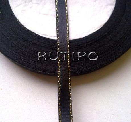 Стрічка атласна чорна з люрексом під золото, 6мм * 1м