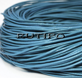 Кожаный шнур голубой, 1мм*1м