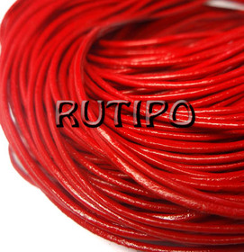 Кожаный шнур красный, 1.5мм*1м