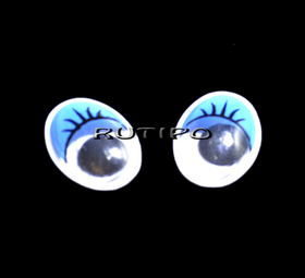 Глазки с бегающим зрачком синие, 17*12мм, пара