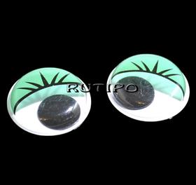 Очки з бігають зіницею зелені, 20мм, пара