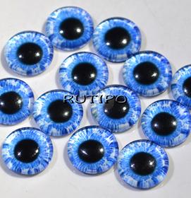 10-03 Глазки-кабошоны желто-зеленые, стекло, 10мм, пара