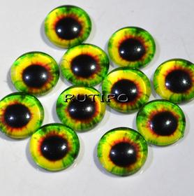 10-06 Глазки-кабошоны зеленые, стекло, 10мм, пара