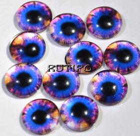 10-07 Глазки-кабошоны зеленые, стекло, 10мм, пара