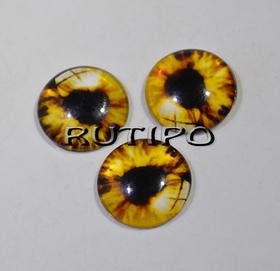 10-09 Глазки-кабошоны коричневые, стекло, 10мм, пара