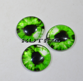 10-11 Глазки-кабошоны зеленые, стекло, 10мм, пара